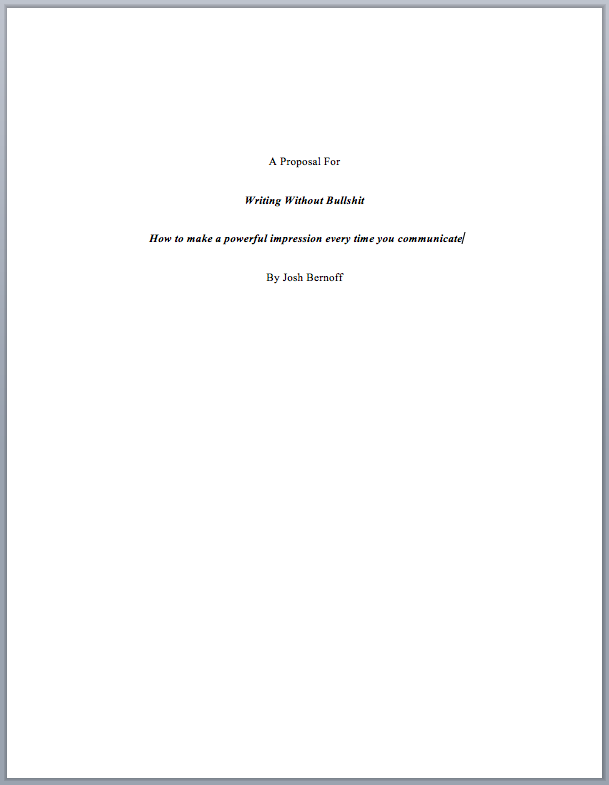 proposal first page